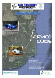 SERVICE GUIDE - Bega Valley Rally