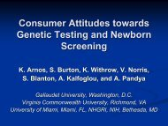 Consumer Attitudes towards Genetic Testing and Newborn Screening