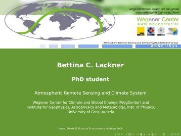 Bettina C. Lackner - PhD student - Institute of Coastal Research