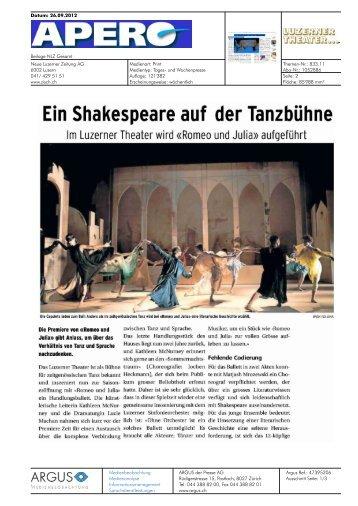 Ein Shakespeare auf der Tanzbühne - Luzerner Theater