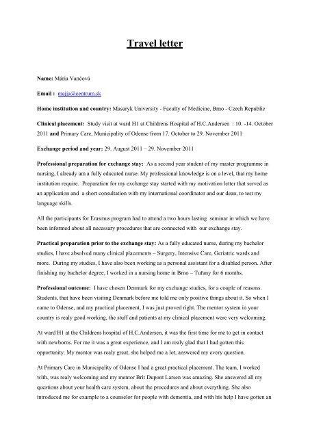 Travel letter - University College Lillebaelt