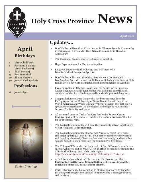 Holy Cross Province News - Passio Christi