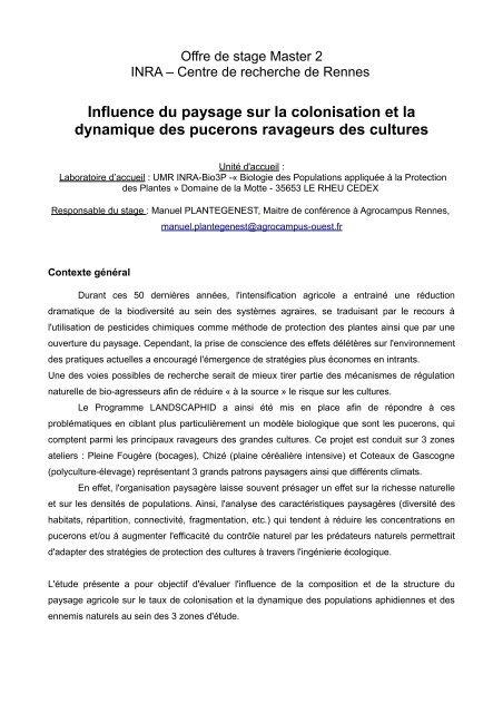 Influence Du Paysage Sur La Colonisation Et La Dynamique Des
