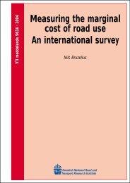 Measuring the marginal cost of road use An international survey - VTI