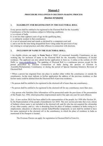 Manual-3 - Home: Chief Electoral Officer, Delhi