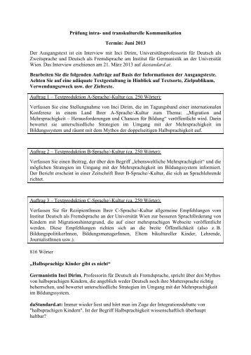 Prüfung intra- und transkulturelle Kommunikation Termin: Juni 2013 ...
