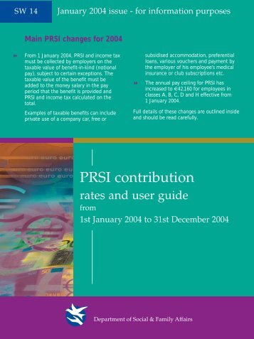 PRSI Contribution Rates and User Guide 2004 - SW14 - Welfare.ie