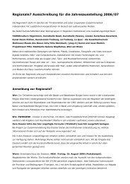 Regionale7 Ausschreibung für die Jahresausstellung 2006/07