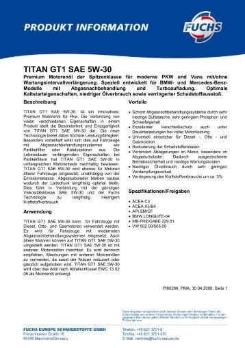 TITAN GT1 SAE 5W-30 - Korb Schmierstoffe