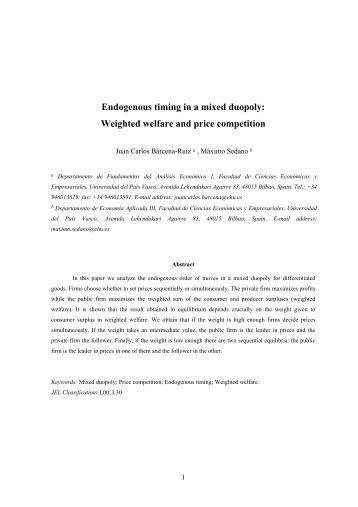 Endogenous timing in a mixed duopoly: Weighted welfare ... - ALdE