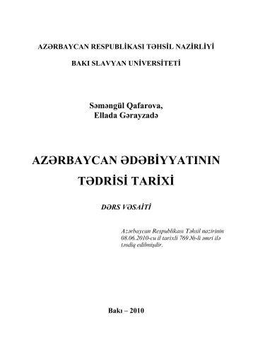 azərbaycan ədəbiyyatının tədrisi tarixi - Bakı Slavyan Universiteti