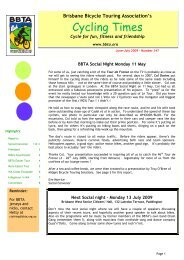 Cycling Times - Brisbane Bicycle Touring Association