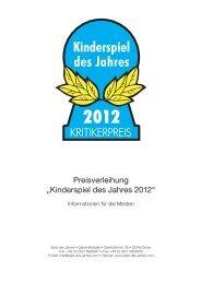 Pressemappe Kinderspiel des Jahres 2012
