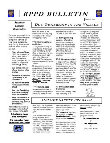 RPPD BULLETIN - The Village of Ridgefield Park