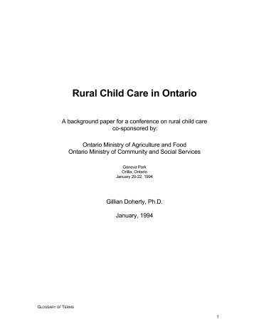 Rural child care in Ontario - Childcare Resource and Research Unit
