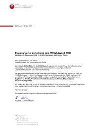 Einladung zur Verleihung des SVSM Award 2009
