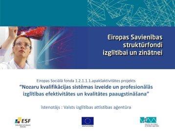 """""""Nozaru kvalifikācijas sistēmas izveide un profesionālās izglītības ..."""