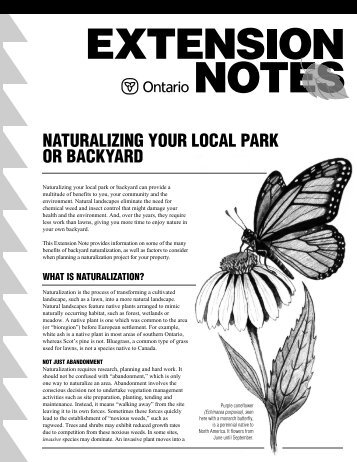Naturalizing Your Local Park or Backyard - LandOwner Resource ...