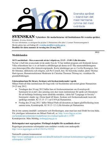 Svenskan 19/12 - Institutionen för svenska språket - Göteborgs ...