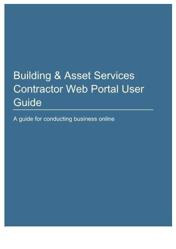 Building and Asset Services web portal user guide - Department of ...