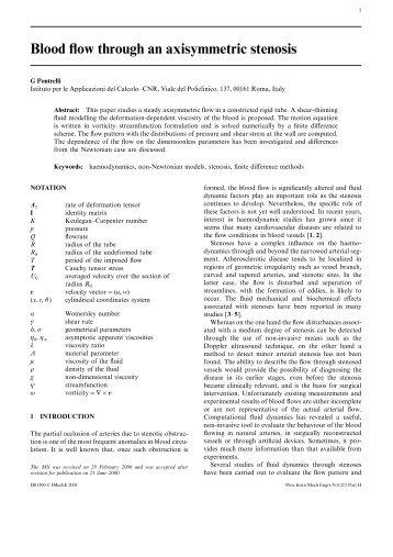Blood flow through an axisymmetric stenosis - Istituto per le ...