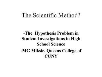 hypothesis problem - Institute for Earth Science Research and ...