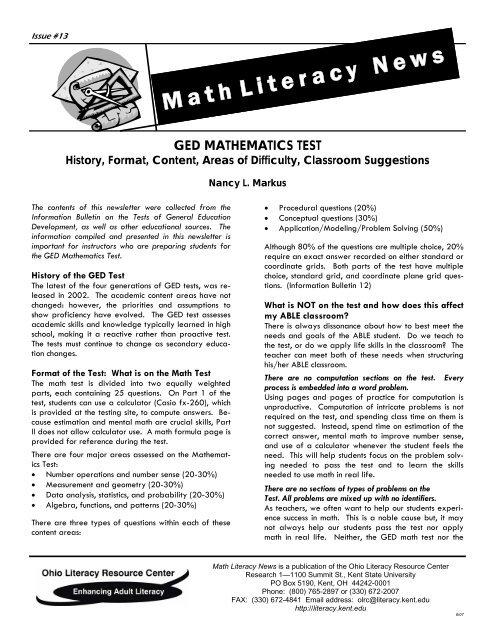 GED Test pub - Ohio Literacy Resource Center - Kent State