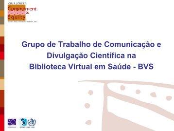 Grupo de Trabalho de Comunicação e Divulgação Científica na ...