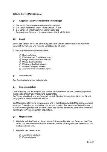 Die Satzung von Greven Marketing e.V. zum Download