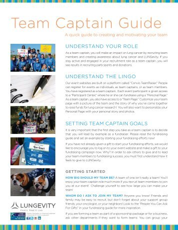 Download our Team Captain Guide here (pdf) - LUNGevity Foundation