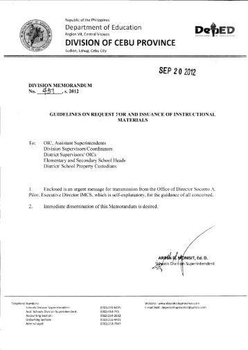 Memo No. 451, S. 2012 - DepEd Cebu Province