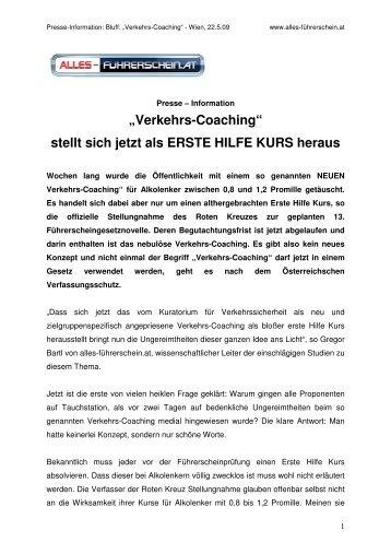 PRESSE-INFO Verkehrscoaching 2 - auf alles-führerschein.at