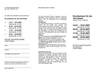 JAV Grundlagenseminare - IG Metall Karlsruhe