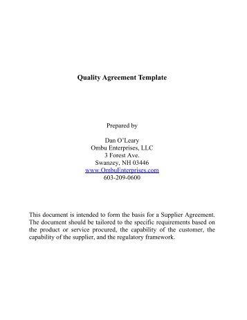 Supplier Quality Agreements Iso 9001 Ombu Enterprises Llc