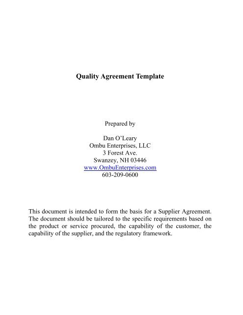 Quality Agreement Template Ombu Enterprises Llc