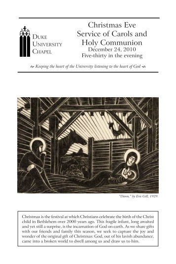 Christmas Eve Service of Carols and Holy ... - Duke University