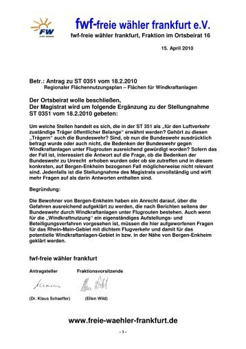 Antrag ansehen - Freie Wähler Frankfurt
