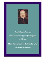 Address promulgating Synod priorities - Archdiocese of Brisbane