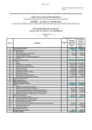 Finansinės būklės ataskaita - Lietuvos nacionalinis muziejus