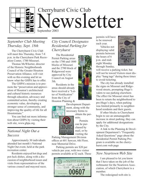 Cherryhurst Civic Club Newsletter - Cherryhurst Civic
