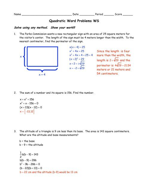 Quadratic Word Problems WS 1 Solutions