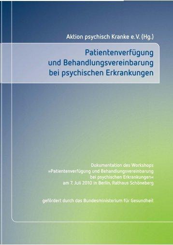 Behandlungsvereinbarung - Aktion Psychisch Kranke e.V.