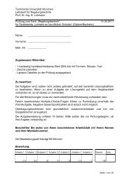 Probeklausur - Lehrstuhl für Regelungstechnik - Technische ...