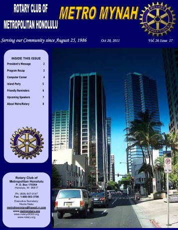 October 20, 2011 - Rotary Club of Metropolitan Honolulu