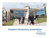 Amadeus Introductory presentation - Investor relations at Amadeus