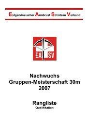 Nachwuchs Gruppen-Meisterschaft 30m 2007 Rangliste - ZKAV