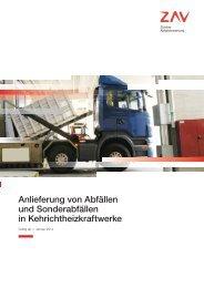 Anlieferung von Abfällen und Sonderabfällen in ... - ZAV