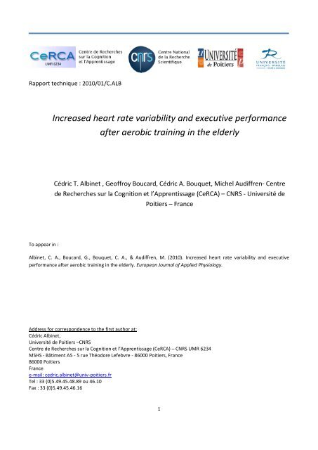 Increased heart rate variability and executive