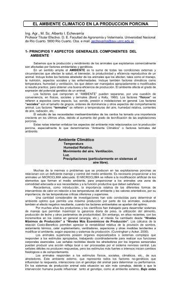 el ambiente climatico en la produccion porcina - Centro de ...
