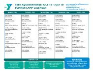 teen aquaventures: july 15 - july 19 summer camp calendar